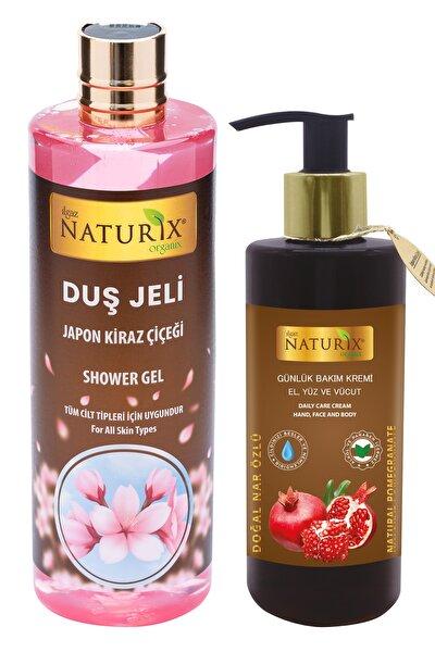 2'li Set Aromatik Japon Kirazı Duş Jeli 400 Ml + Nar Özlü C Vitaminli El Yüz Vücut Kremi 250 Ml