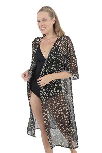 Siyah Leopar Desenli Kimono