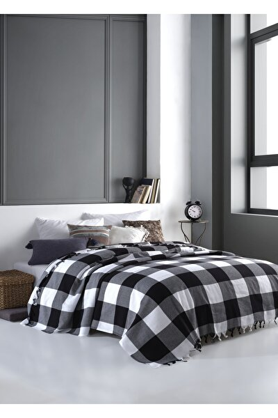 Scotch Siyah-Beyaz Çift Kişilik Pike 200 x 220 cm Koltuk Yatak Kanepe Örtüsü Pamuklu Dokuma