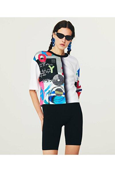 Desen Mixli Crop T-shirt