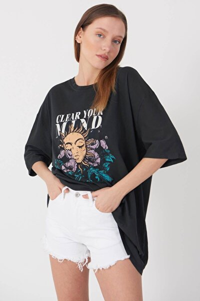 Kadın Füme Baskılı Oversize T-Shirt P9372 - D4 Adx-0000021439