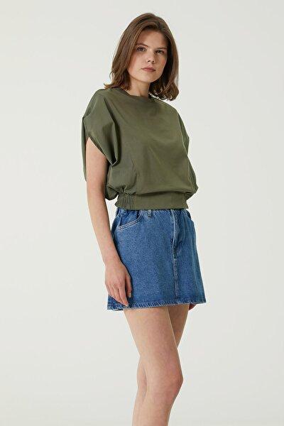 Kadın Slim Fit Haki Beli Lastikli T-shirt 1078504