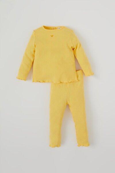 Kız Bebek Kalp Baskılı Fitilli Pijama Takımı