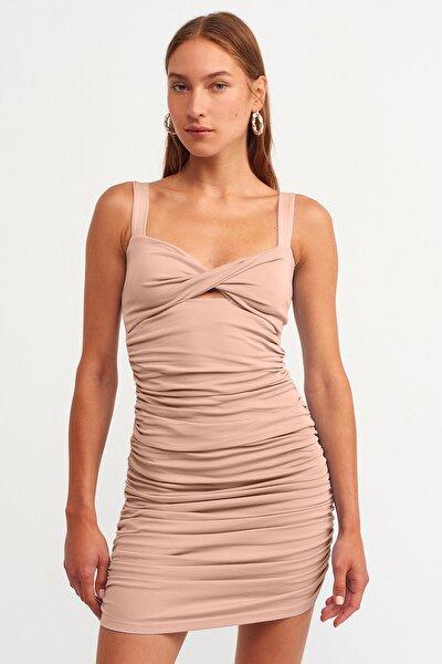 Kadın Ten Büzgü Detaylı Elbise 101A09100