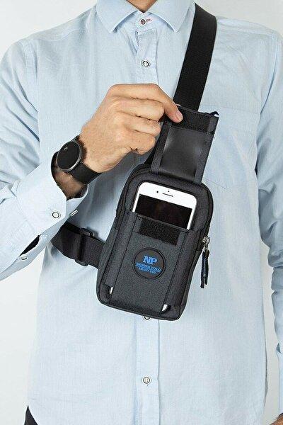 Unisex Keten Telefon Bölmeli Bel Ve Çapraz Omuz Çanta