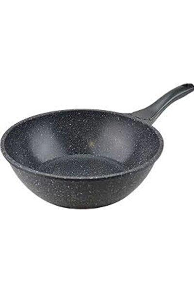 Gri 28 cm Döküm Granit Wok Tava