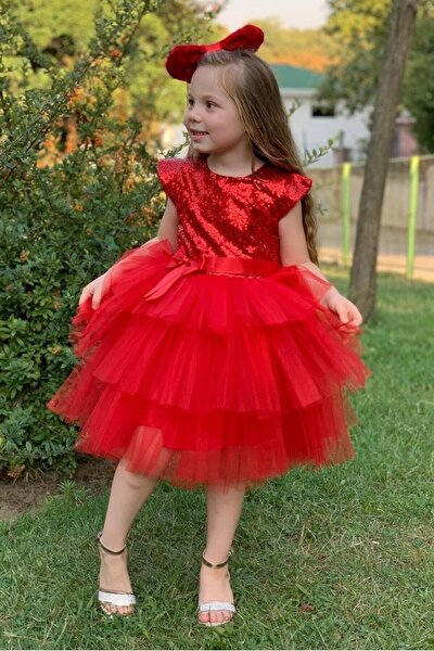 Kırmızı Kız Çocuk Pulpayet Elbise Abiye
