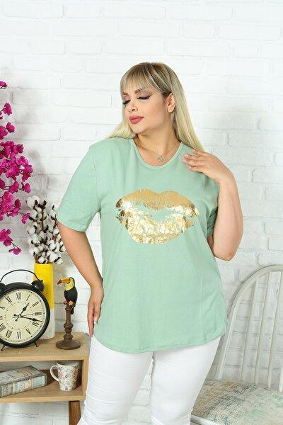 Kadın Büyük Beden Bisiklet Yaka Kısa Kol Dudak Baskılı Pamuklu Kumaş Yeşil T-shirt