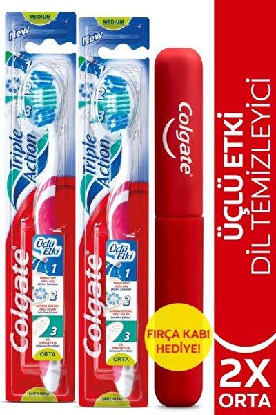 Üçlü Etki Orta Diş Fırçası X 2 Adet + Diş Fırçası Kabı Hediye