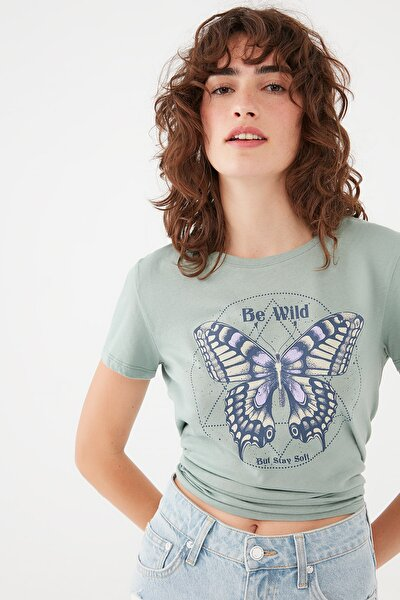 Kadın Kelebek Baskılı Yeşil Tişört 1601042-35314