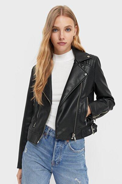 Kadın Siyah Biker Ceket