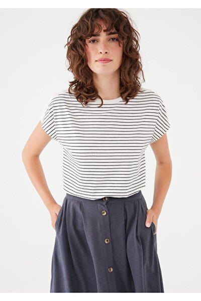 Çizgili Beyaz Tişört 1600991-34519