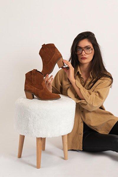 Kadın Kahverengi Hakiki Deri Western Nakışlı Jurdan Taban Kışlık Bot