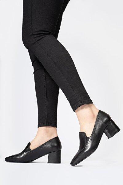 Hakiki Deri Kadın Günlük Ayakkabı Küt Burun Klasik Düz Makosen
