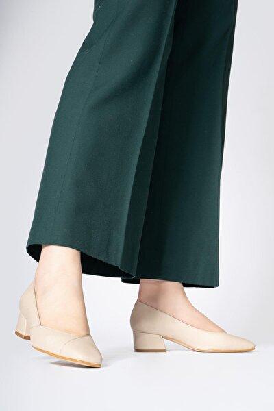 Hakiki Deri Kadın Alçak Topuklu Ayakkabı Önü Kapalı Küt Burun