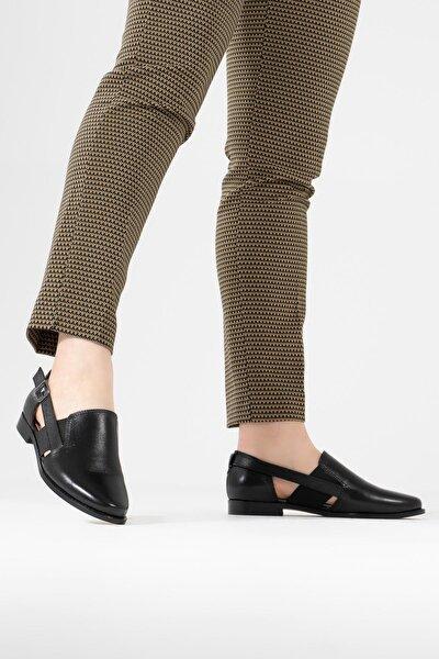 Hakiki Deri Kadın Casual Ayakkabı Yanı Lastikli Günlük Ayakkabı