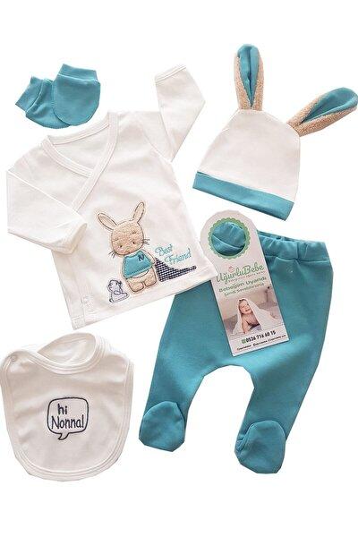 Erkek Bebek Mavi Uzun Kulak Tavşan 5 Parça Hastane Çıkış Seti