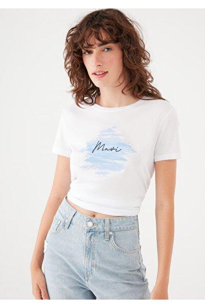 Baskılı Beyaz Tişört 1601197-620
