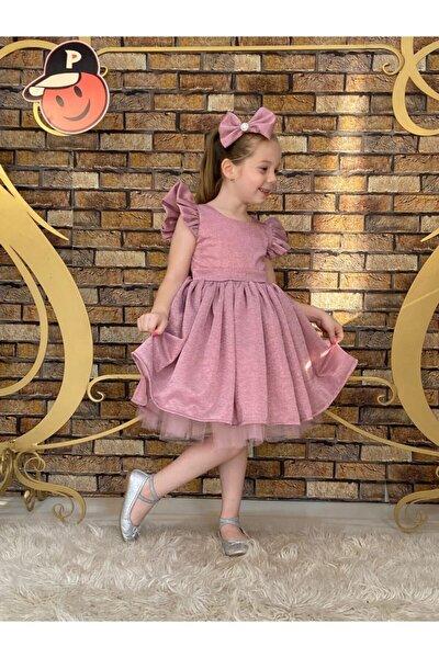 Kız Çocuk Pembe Simli Abiye Elbise