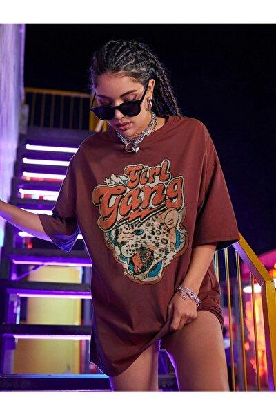Kadın Girl Gang Bordo Oversize T-shirt