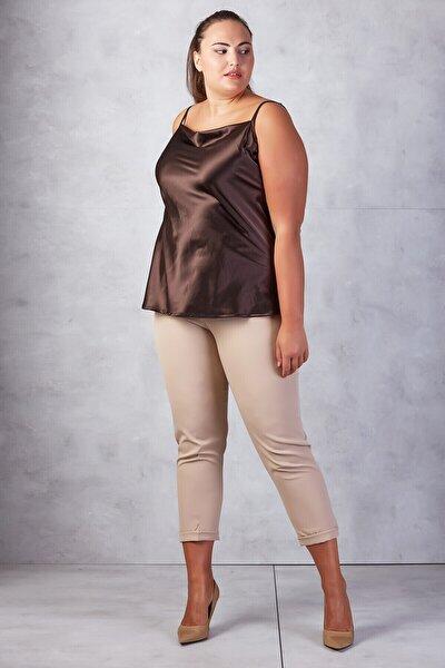 Kadın Bej Beli Lastikli Duble Paça Pantolon
