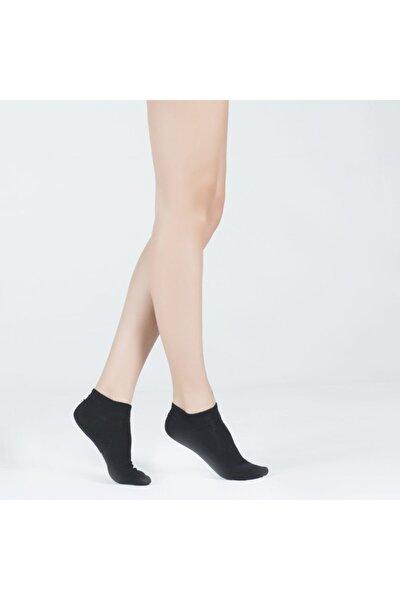 Run 3 Lü Kadın Basic Patik Çorap Siyah