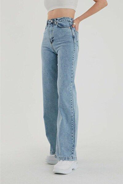 Julia 90's Kar Yıkama Mavi Likralı Süper Yüksek Bel Salaş Jean Pantolon
