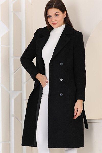 Z6678 Kadın Palto Siyah