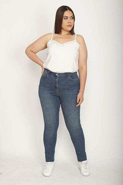 Kadın Lacivert Likralı 5 Cepli Skinny Kot Pantolon 65N26781