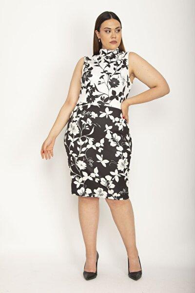 Kadın Kemik Dik Yakalı Arka Fermuarlı Elbise 65N26934