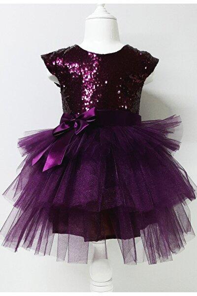 Kız Çocuk Mürdüm Tüllü Pul Payetli Parti Prenses Elbisesi