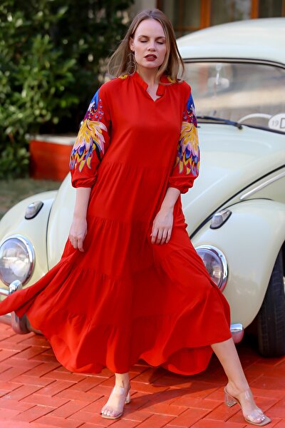 Kadın Kiremit Kolları Tavus Kuşu Nakışlı Salaş Uzun Dokuma Elbise M10160000EL94639