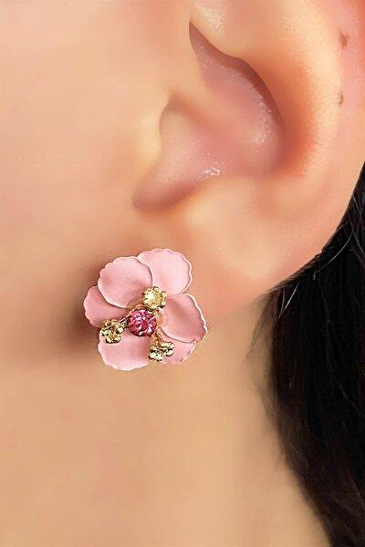 Pembe Renk Çiçek Figürlü Taşlı Küpe