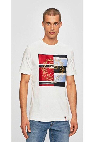 Embroidered Men Round Neck White Erkek T-shirt