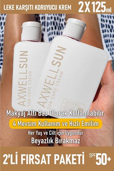 Premium Axwell Sun Care Cream Leke Karşıtı Güneş Koruyucu Krem Spf50 + 125 ml 2 Adet