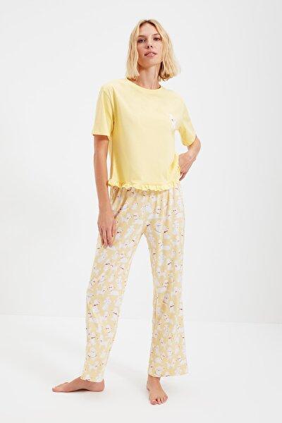 Sarı Örme Pijama Takımı THMSS21PT0220