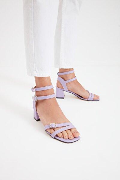 Lila İnce Bantlı Kadın Klasik Topuklu Ayakkabı TAKSS21TO0102