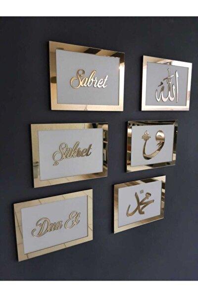 3d Sabret Şükret Dua Et Allah Muhammed Vav 6'lı Tablo Set (20*15) Gold / Beyaz Bilazertasarım
