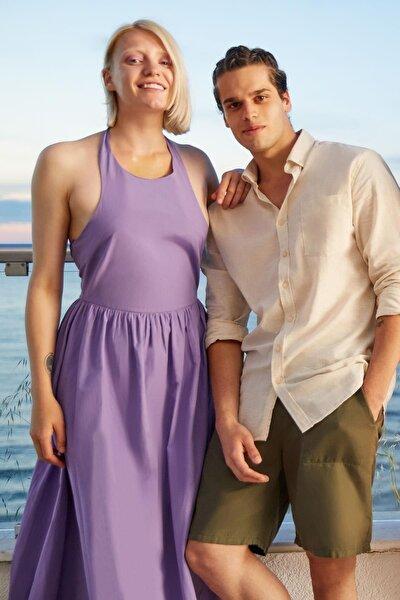 Modern Fit Keten Karışımlı Uzun Kollu Gömlek