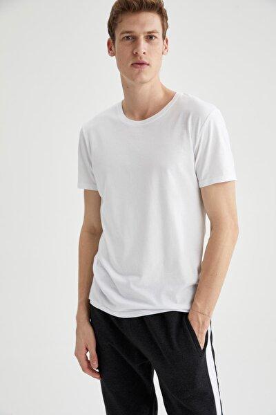 Erkek Beyaz Bisiklet Yaka Slim Fit Premium Kalite Basic Beyaz Tişört M6606AZNSWT34