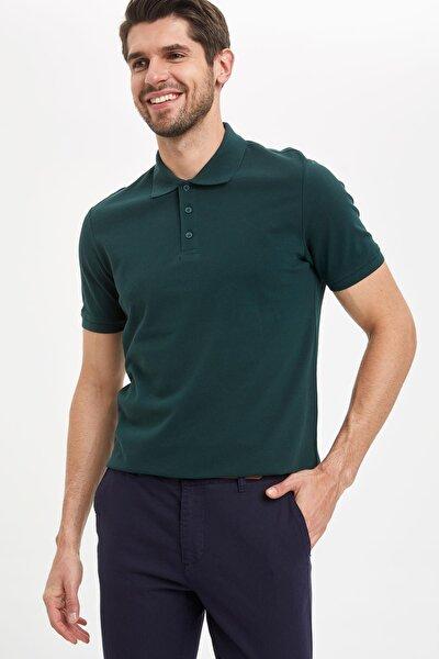 Regular Fit Polo Yaka Basic Kısa Kollu Yeşil Tişört