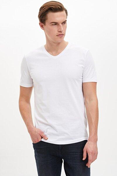 Erkek Beyaz Slim Fit V Yaka Basic Beyaz Tişört M7668AZ20SPWT