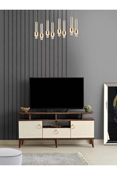 110 Cm Mebran Kapak Raflı Tv Sehpası Ceviz Krem