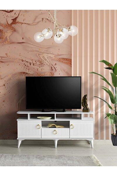 130 Cm Mebran Kapak Raflı Tv Sehpası Beyaz