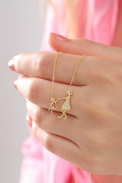 Kadın Tamamı Orjinal 925 Ayar Gümüş Altın Kaplamalı Anne Çoçuk Sevgi Kolye