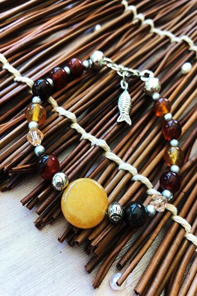 Dr Stone Doğaltaş el yapımı  afrika koleksiyonu Kadın akik taşı Bileklik YAHL12