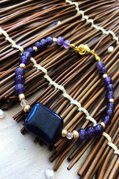 Dr Stone Doğaltaş el yapımı  afrika koleksiyonu Kadın ametist taşı Bileklik YAHL24