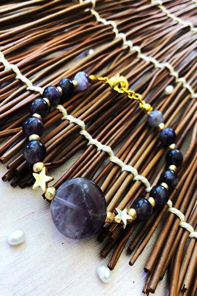 Dr Stone Doğaltaş el yapımı  afrika koleksiyonu Kadın ametist taşı Bileklik YAHL19
