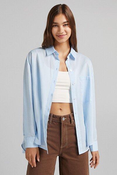 Cepli Oversize Uzun Kollu Gömlek