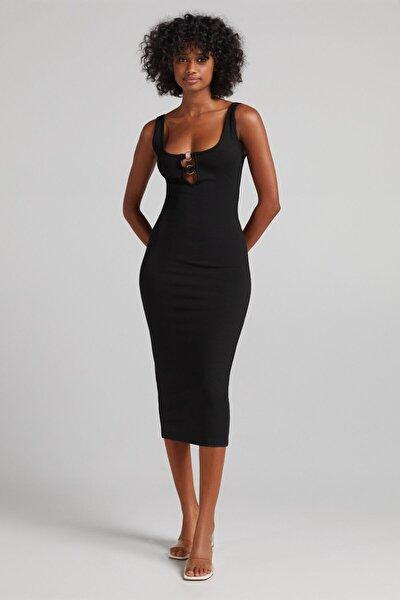 Yakası Halkalı Streç Midi Elbise